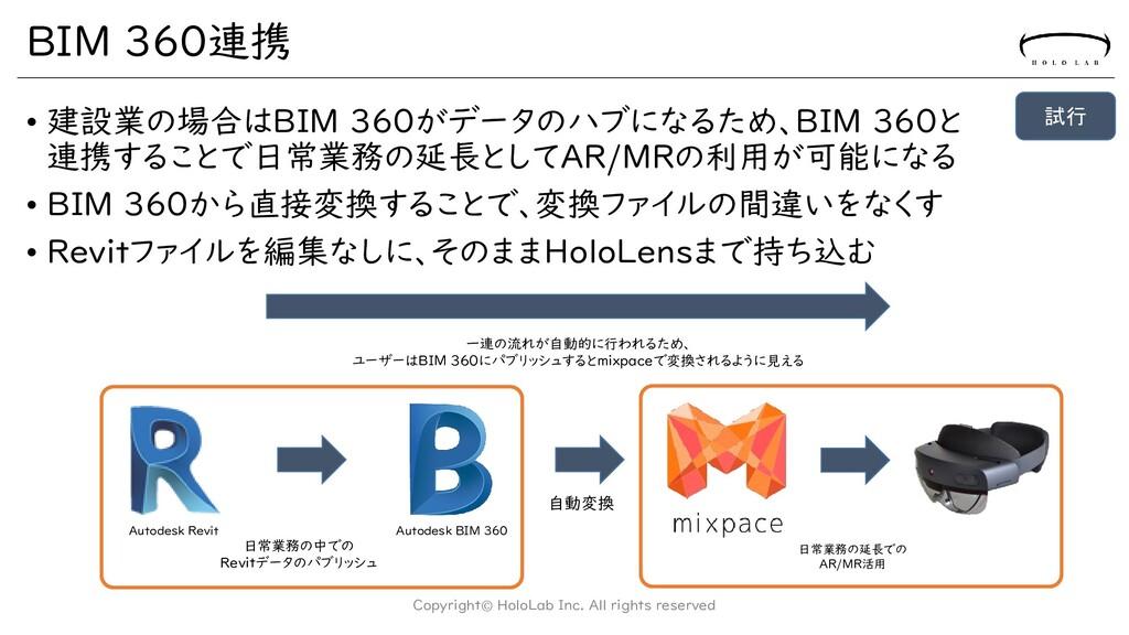 BIM 360連携 • 建設業の場合はBIM 360がデータのハブになるため、BIM 360と...