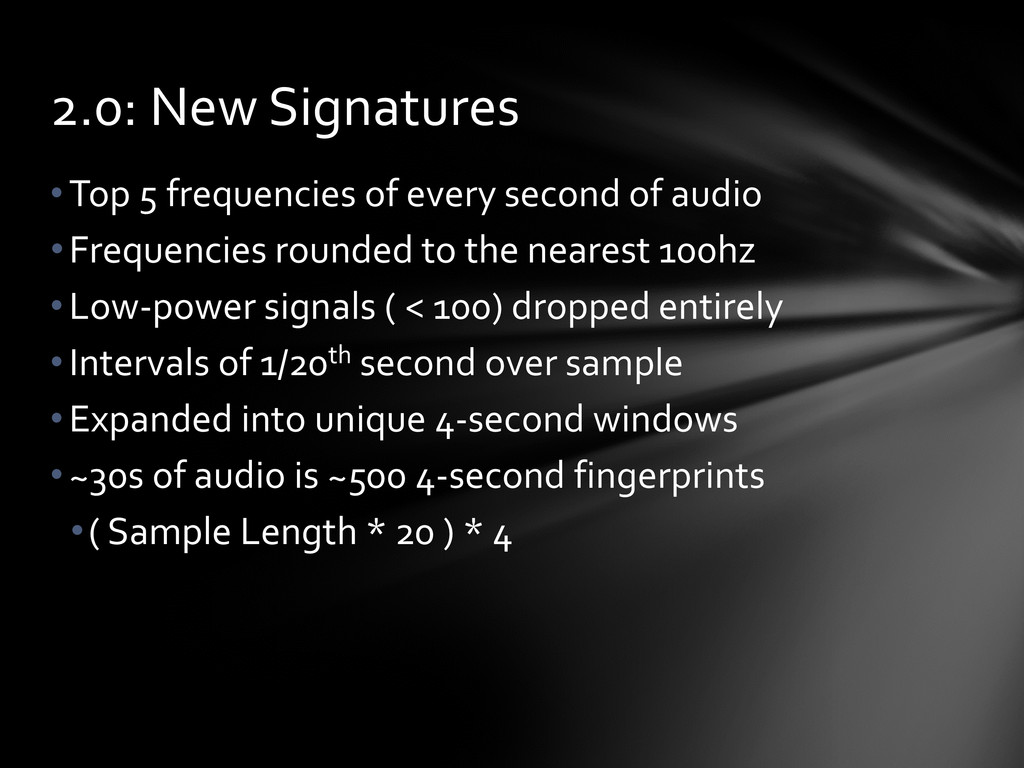•Top 5 frequencies of every second of audio •Fr...