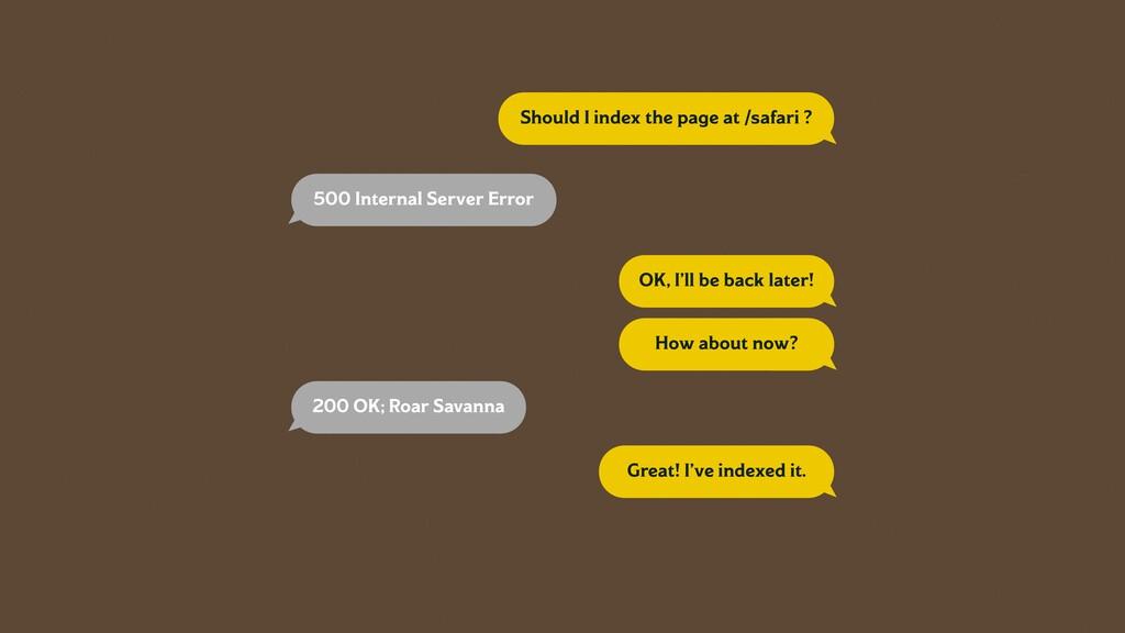 Should I index the page at /safari ? 500 Intern...