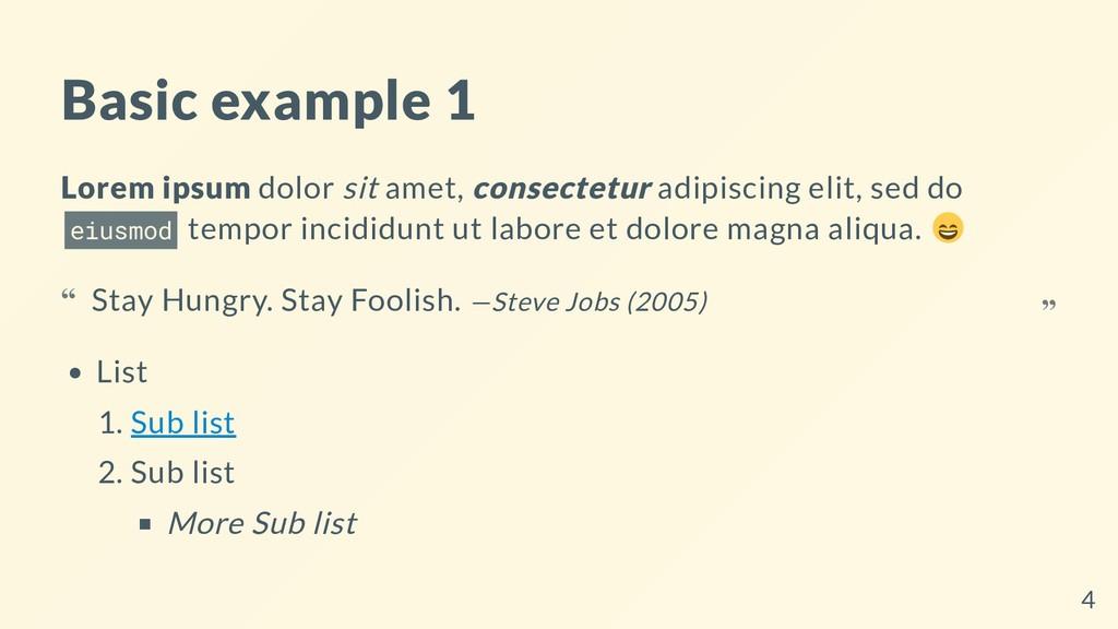 Basic example 1 Lorem ipsum dolor sit amet, con...