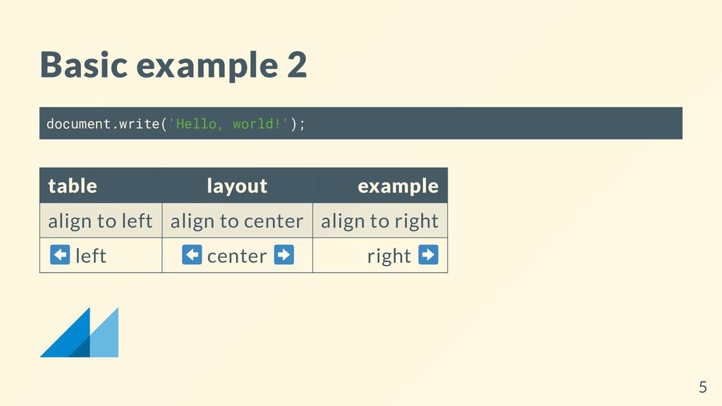 Basic example 2 document.write('Hello, world!')...