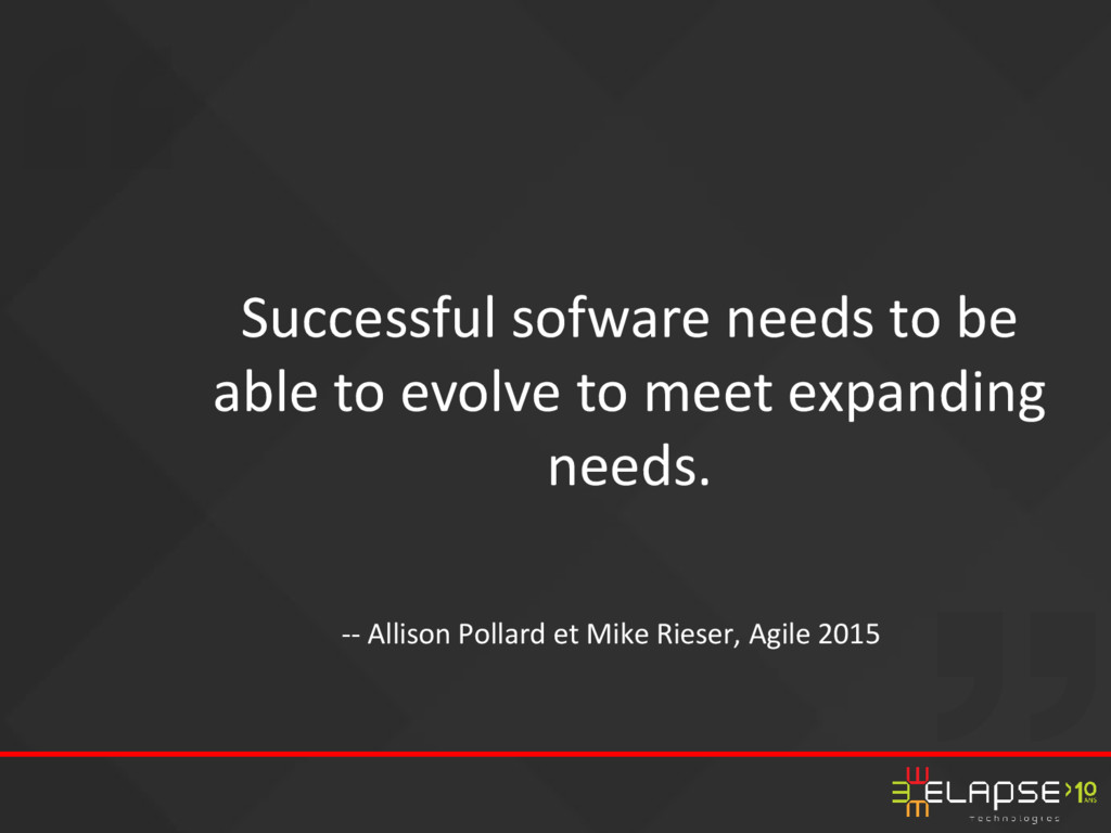 Successful sofware needs to be able to evolve t...
