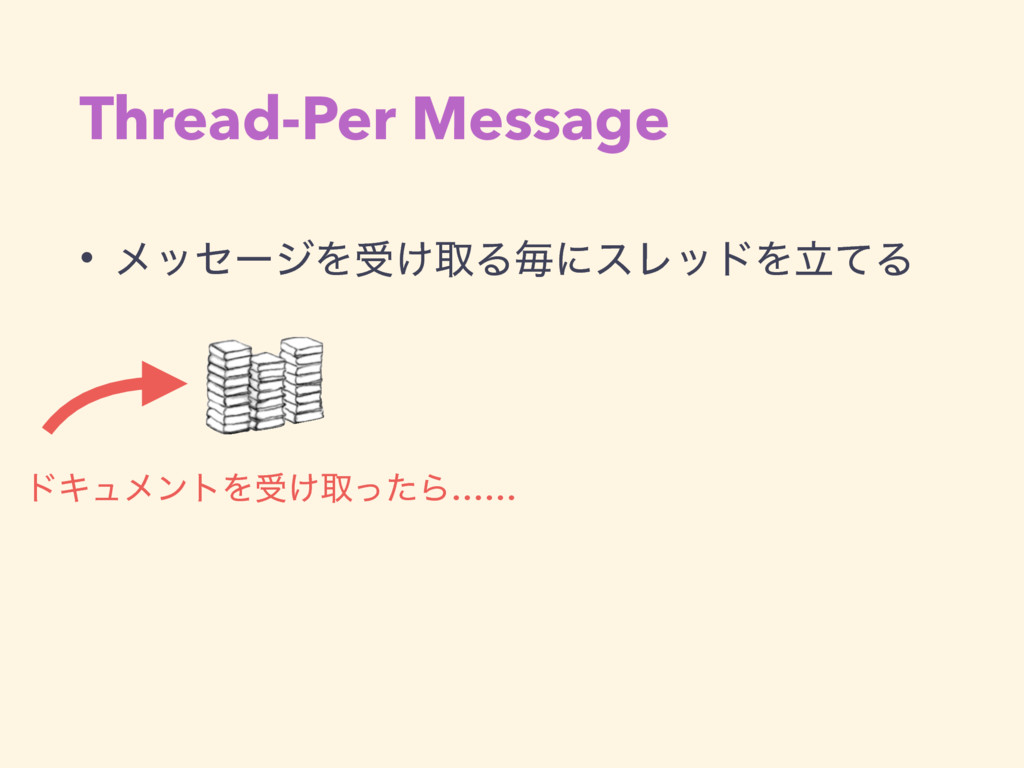 Thread-Per Message • ϝοηʔδΛड͚औΔຖʹεϨουΛཱͯΔ υΩϡϝϯ...