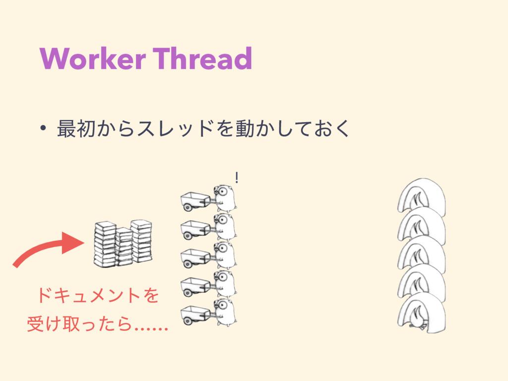 Worker Thread • ࠷ॳ͔ΒεϨουΛಈ͔͓ͯ͘͠ υΩϡϝϯτΛ ड͚औͬͨΒ...