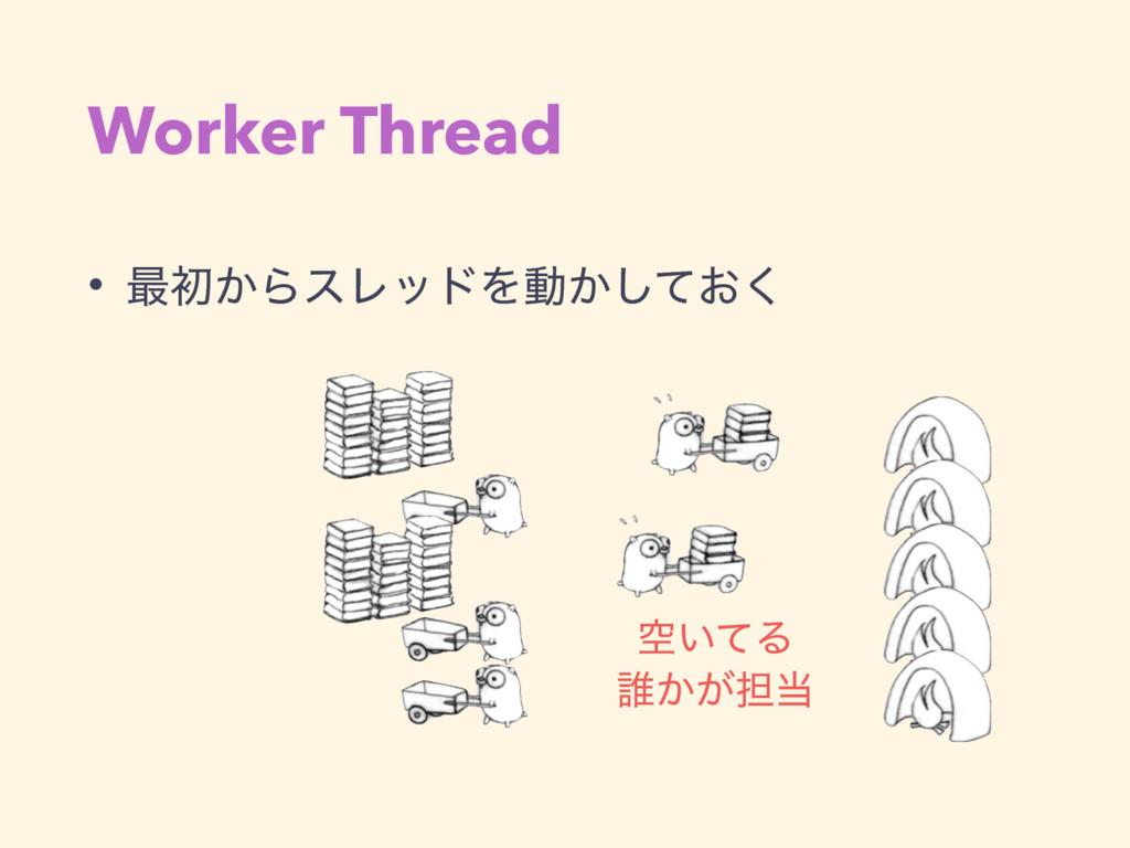Worker Thread • ࠷ॳ͔ΒεϨουΛಈ͔͓ͯ͘͠ ۭ͍ͯΔ ୭͔͕୲