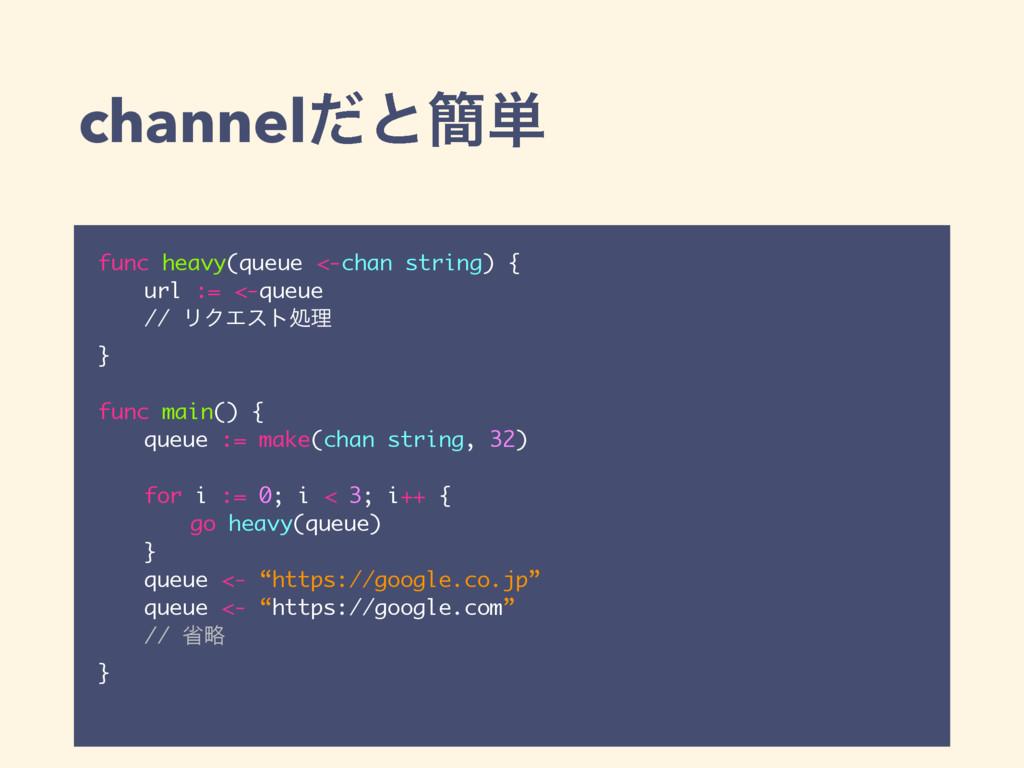 channelͩͱ؆୯ func heavy(queue <-chan string) { u...