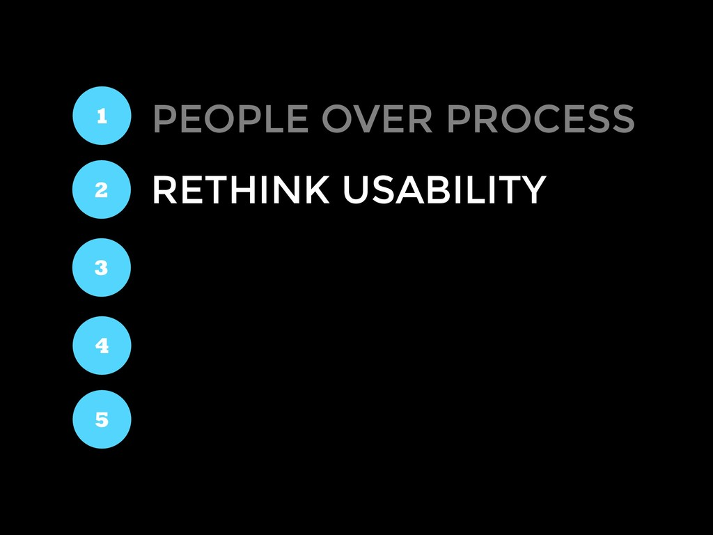 RETHINK USABILITY 1 2 3 4 5 PEOPLE OVER PROCESS