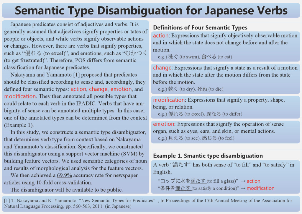 Semantic Type Disambiguation for Japanese Verbs...