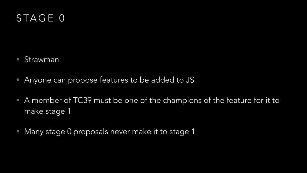 S TA G E 0 • Strawman • Anyone can propose feat...
