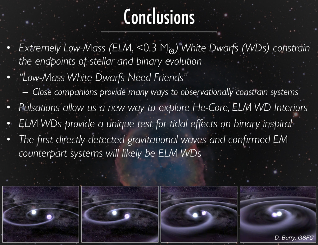 Conclusions •  Extremely Low-Mass (ELM, <0.3 M¤...