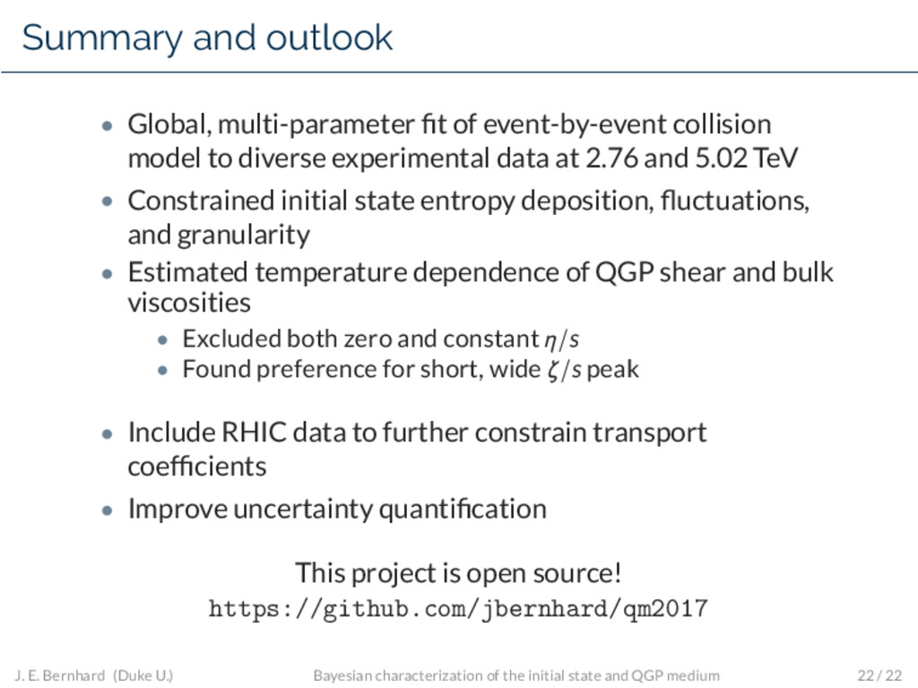 Summary and outlook • Global, multi-parameter fi...
