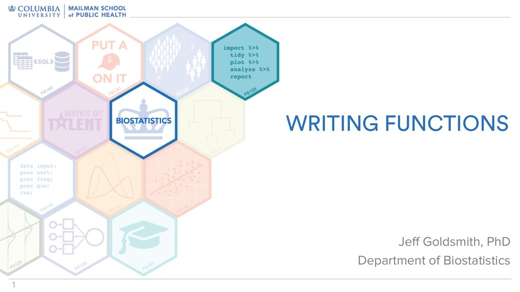 1 WRITING FUNCTIONS Jeff Goldsmith, PhD Departm...