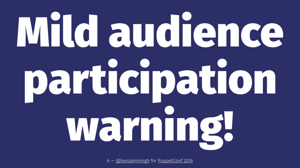 Mild audience participation warning! 6 — @benja...