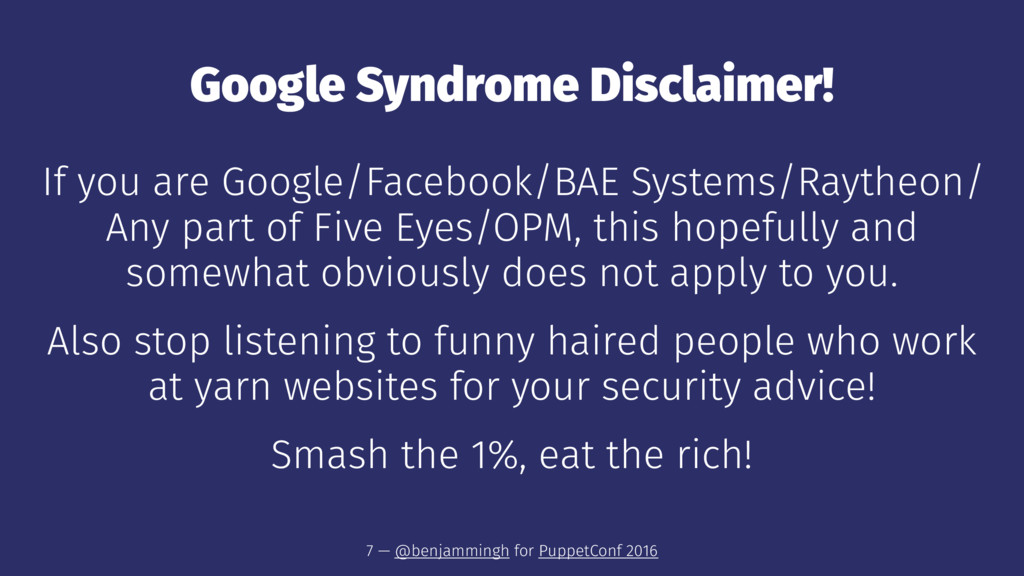 Google Syndrome Disclaimer! If you are Google/F...
