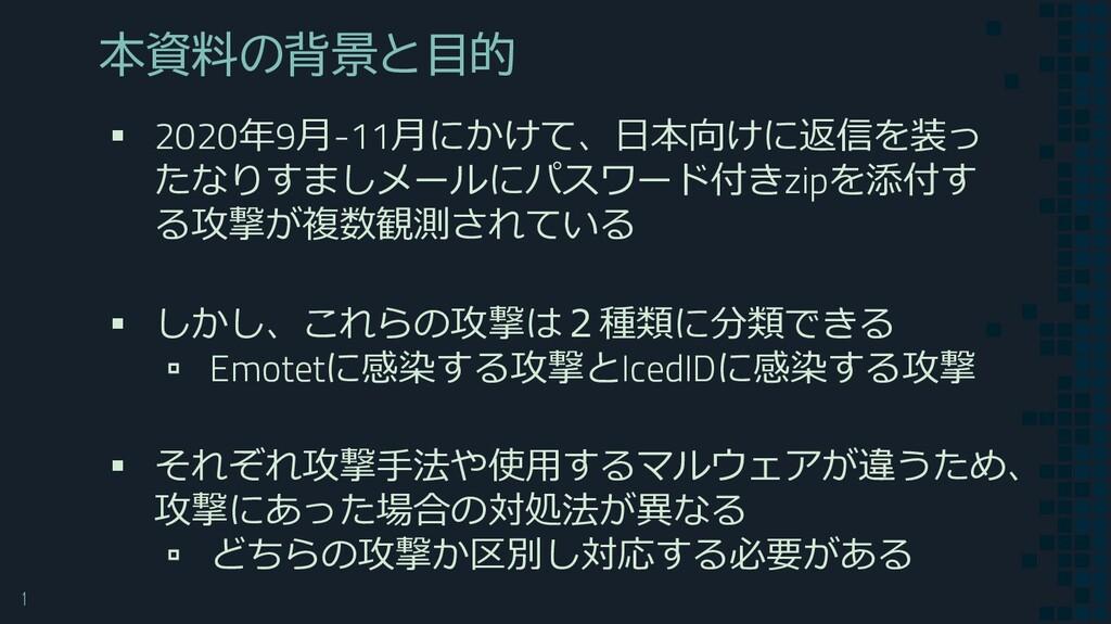 1 本資料の背景と目的 ▪ 2020年9月-11月にかけて、日本向けに返信を装っ たなりすまし...