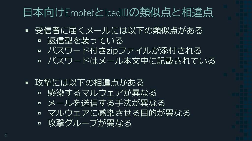 2 日本向けEmotetとIcedIDの類似点と相違点 ▪ 受信者に届くメールには以下の類似点...