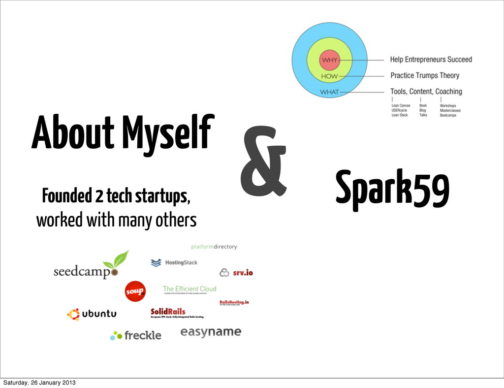 About Myself & Spark59 Founded 2 tech startups,...