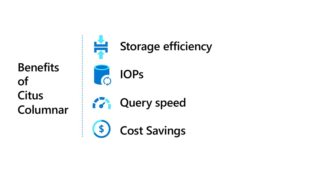 Storage efficiency IOPs Query speed Cost Saving...
