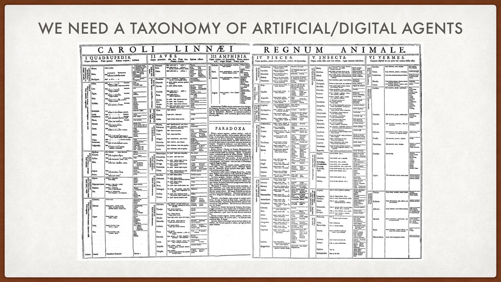 WE NEED A TAXONOMY OF ARTIFICIAL/DIGITAL AGENTS