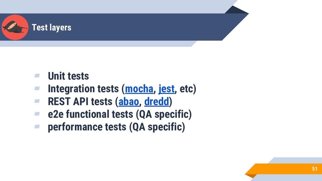Test layers 51 ▰ Unit tests ▰ Integration tests...