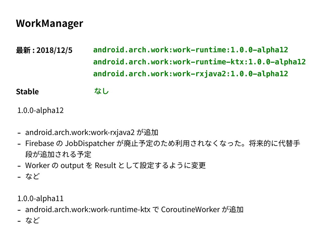android.arch.work:work-runtime:1.0.0-alpha12 Wo...
