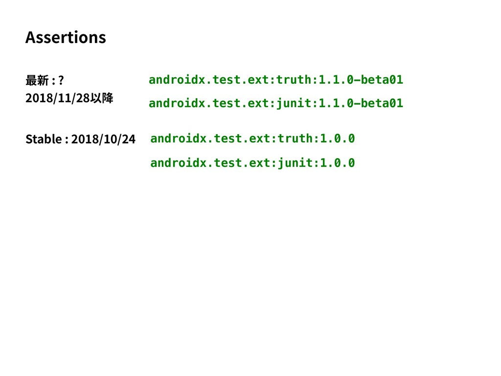 androidx.test.ext:truth:1.1.0-beta01 Assertions...