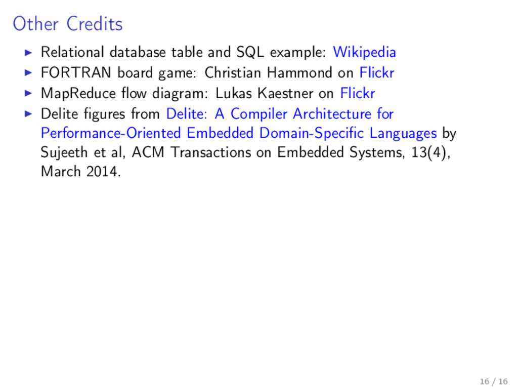 Other Credits Relational database table and SQL...