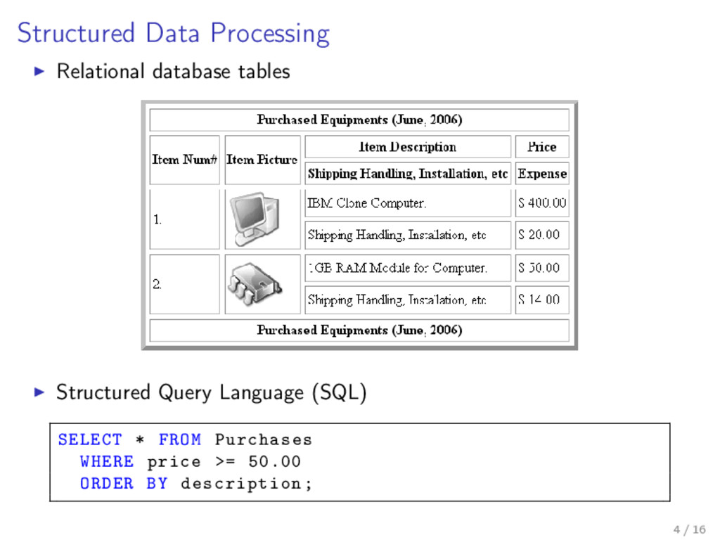 Structured Data Processing Relational database ...