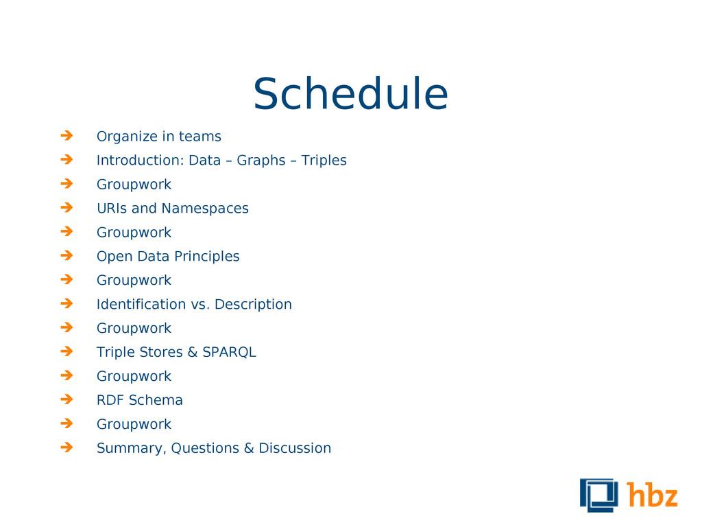 Schedule  Organize in teams  Introduction: Da...