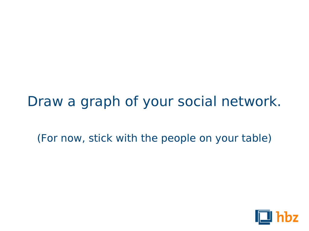 Draw a graph of your social network. (For now, ...