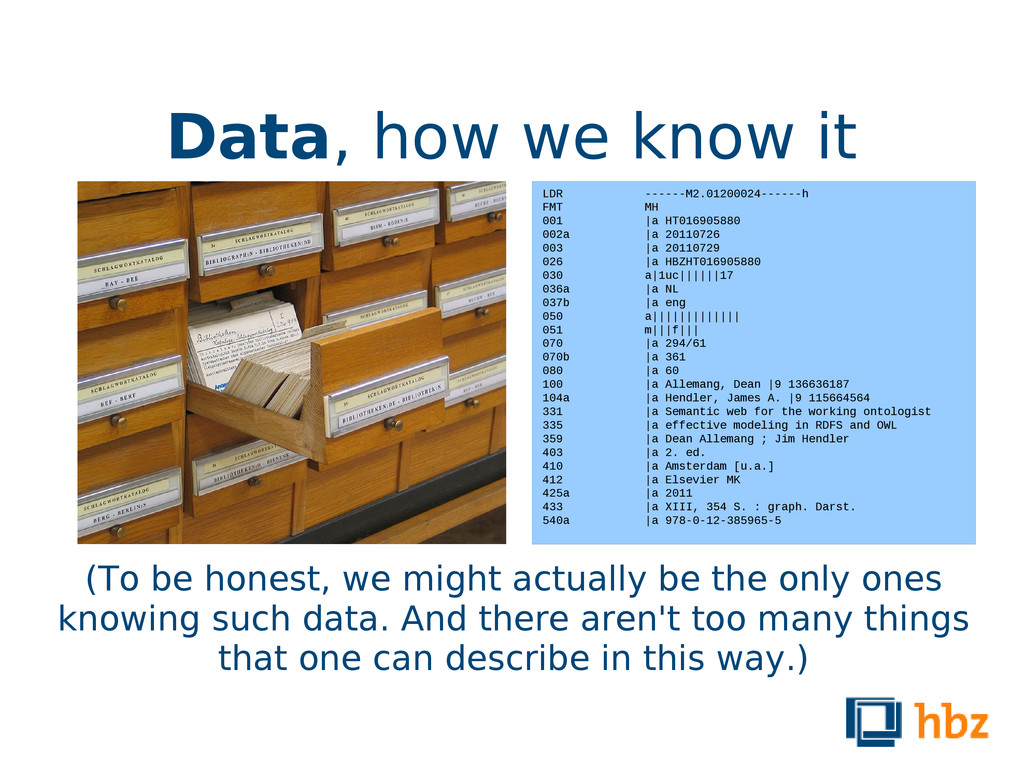 Data, how we know it (To be honest, we might ac...