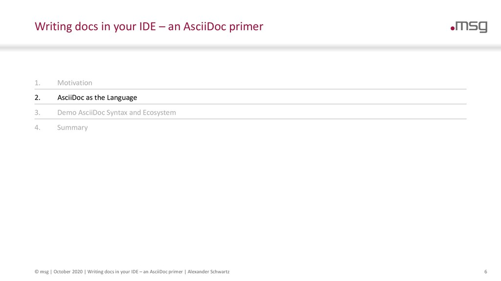 6 Writing docs in your IDE – an AsciiDoc primer...