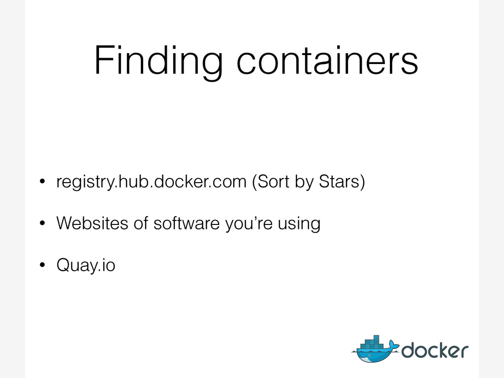Finding containers • registry.hub.docker.com (S...