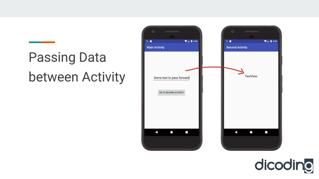 Passing Data between Activity