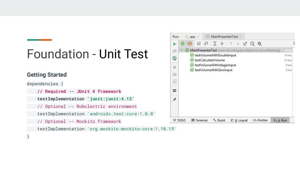 Foundation - Unit Test Getting Started dependen...