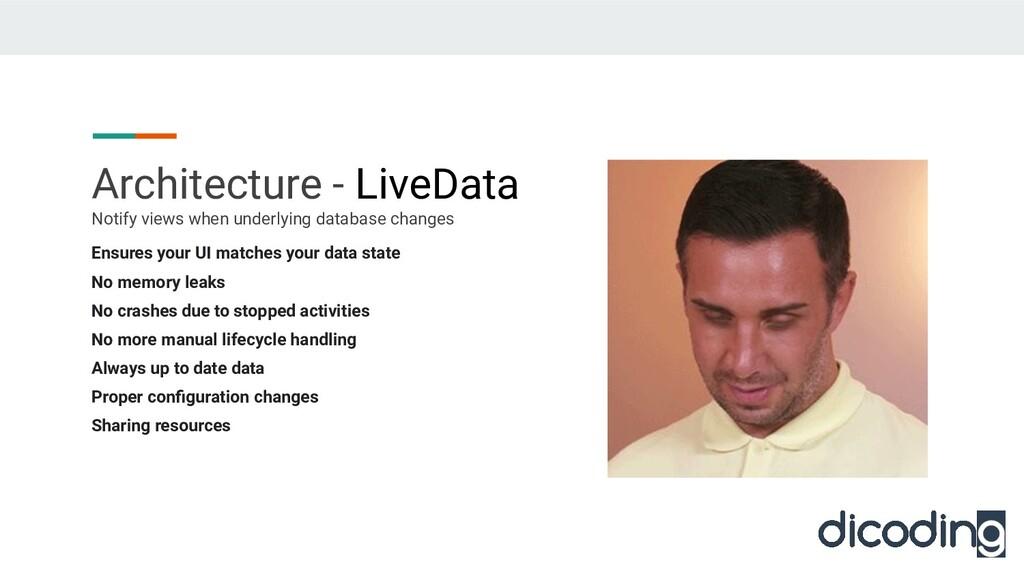 Architecture - LiveData Ensures your UI matches...