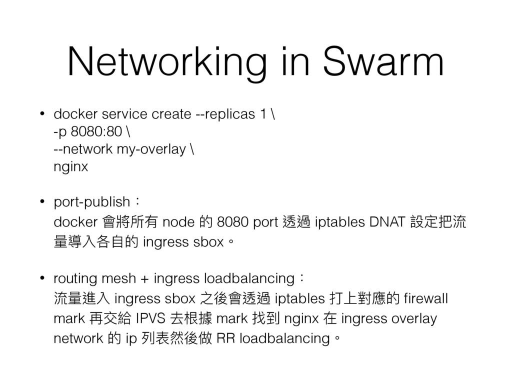 Networking in Swarm • docker service create --r...