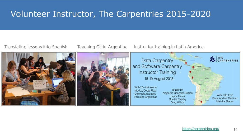 Volunteer Instructor, The Carpentries 2015-2020...