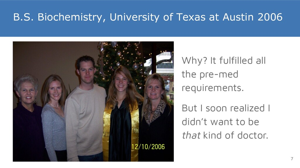 B.S. Biochemistry, University of Texas at Austi...