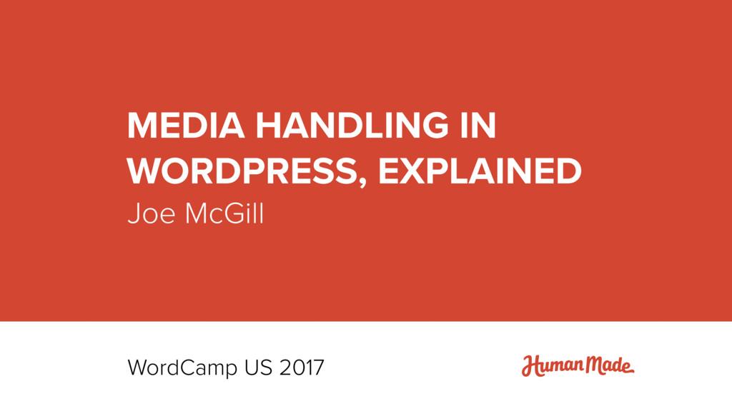 Joe McGill MEDIA HANDLING IN  WORDPRESS, EXPLA...