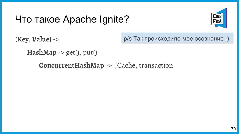 Что такое Apache Ignite? (Key, Value) -> HashMa...