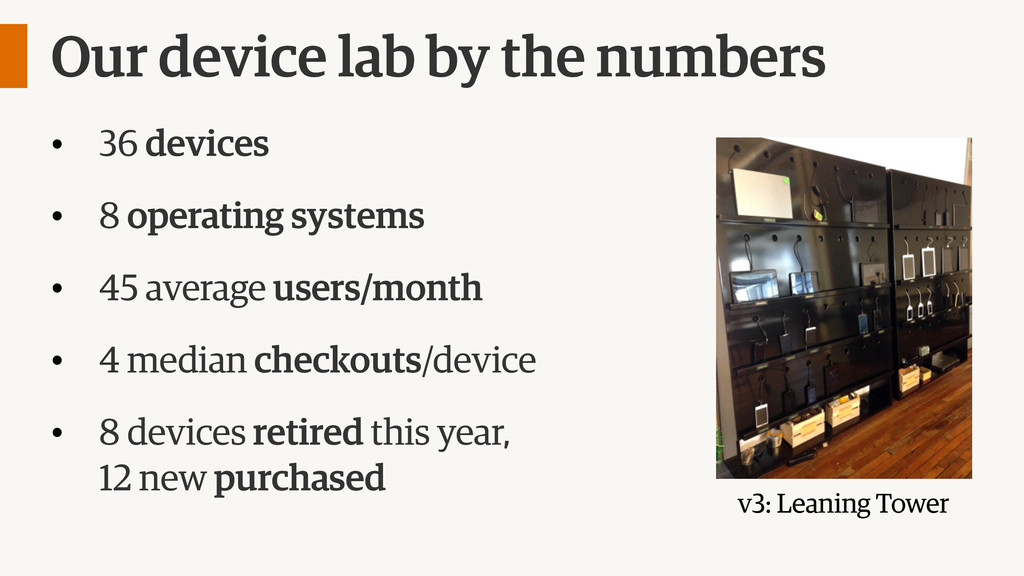 Our device lab by the numbers • 36 devices • 8 ...