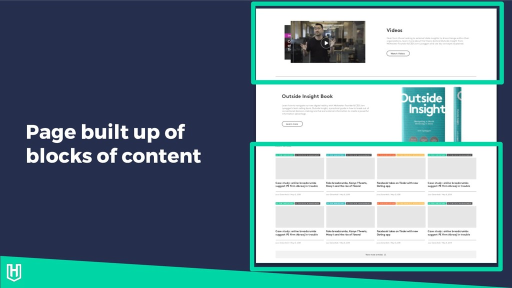 Page built up of blocks of content
