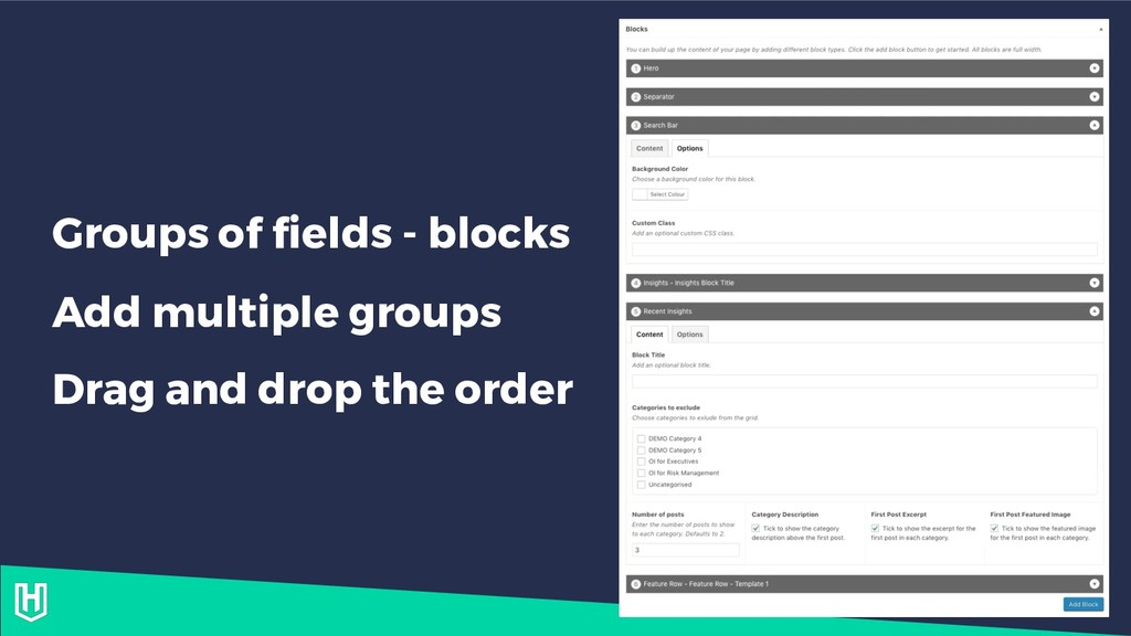 Groups of fields - blocks Add multiple groups D...