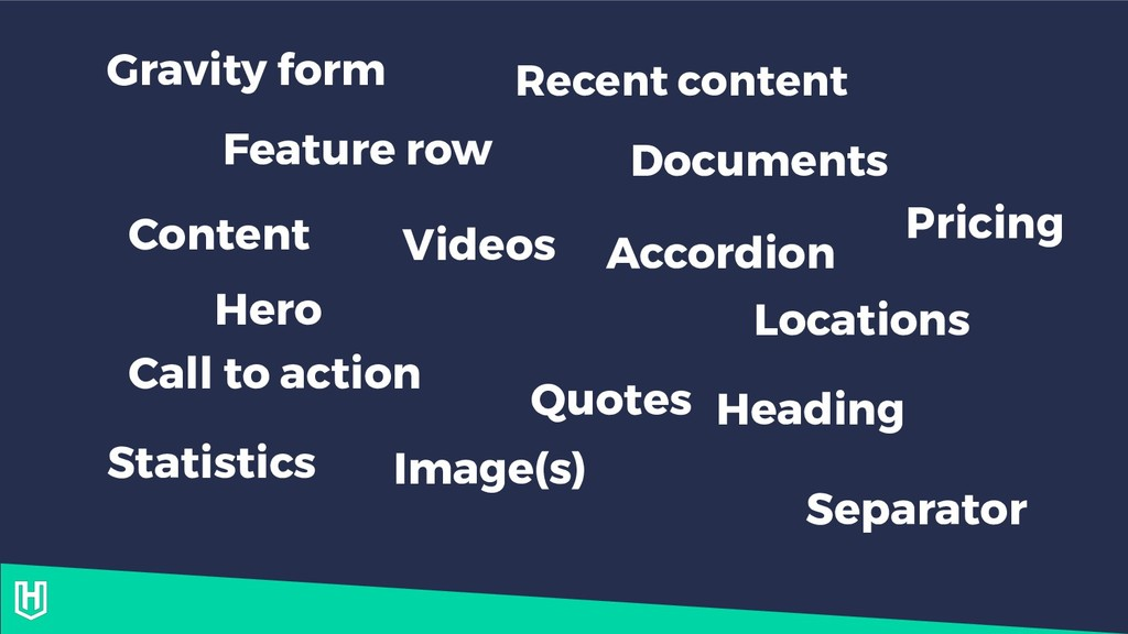 Content Hero Feature row Call to action Videos ...