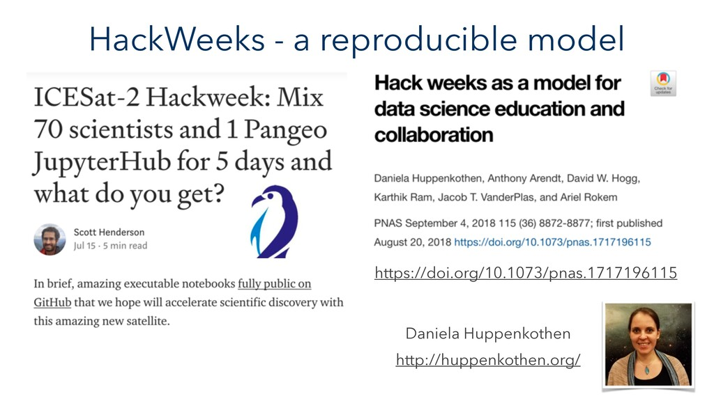 HackWeeks - a reproducible model https://doi.or...