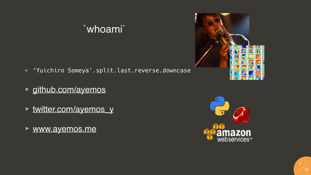 `whoami` ‣ 'Yuichiro Someya'.split.last.reve...