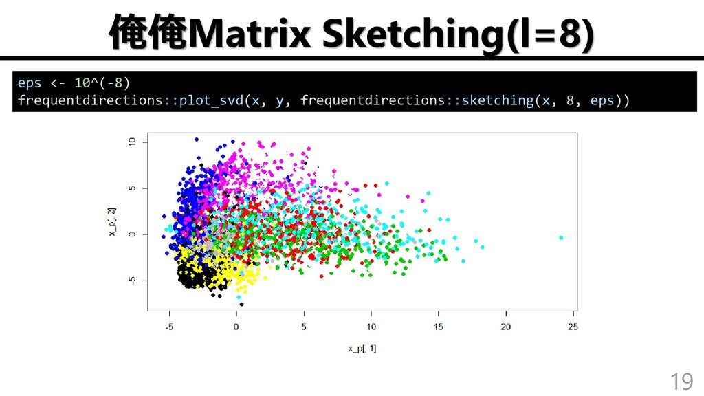 俺俺Matrix Sketching(l=8) 19 eps <- 10^(-8) frequ...