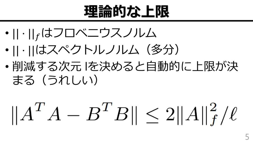 理論的な上限 •    ⋅    はフロベニウスノルム •    ⋅   はスペクトルノルム(...