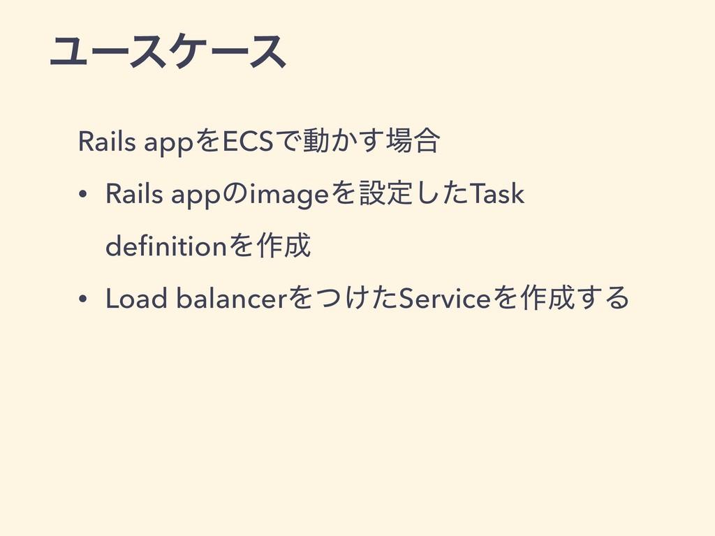 Ϣʔεέʔε Rails appΛECSͰಈ͔͢߹ • Rails appͷimageΛઃఆ...